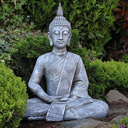buddha statue gro 65cm sitzend deko figur f r wohnzimmer oder garten skulptur xl. Black Bedroom Furniture Sets. Home Design Ideas